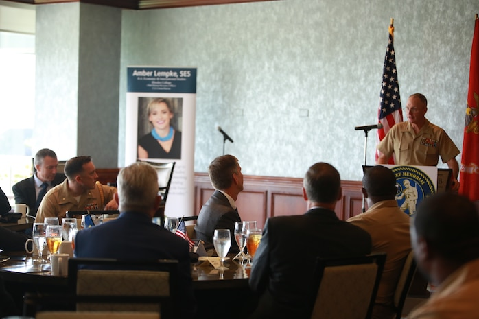 U.S. Marine Corps Forces Command, Commanding General, Lt. Gen. Mark A. Brilakis spoke as the Guest of Honor at the Seabee Memorial Scholarship Association (SMSA) event in Norfolk, Va., Sept. 20. The SMSA is the nation's only provider of scholarships for the children and grandchildren of individuals who have served with the U.S. Navy Seabees and Civil Engineer Corps. (U.S. Marine Corps imagery by Lance Cpl. Garett Burns/Released)