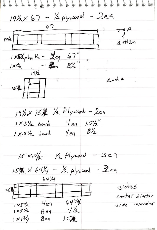 A sketch of a prototype shipping crate to store and house precision seismic equipment for the Air Force Technical Applications Center, Patrick AFB, Fla.  The sketch was used to develop a workable solution to inventory issues at the nuclear treaty monitoring center's overseas detachments.  (U.S. Air Force illustration)