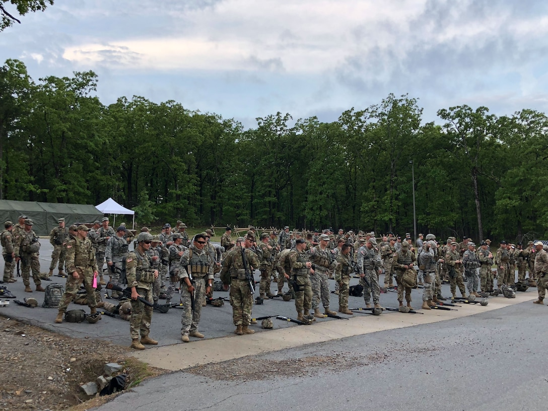 Marksmen teams wait to enter range during the  47th Annual Winston P. Wilson Championship, Robinson Maneuver Training Center, Arkansas, May 2, 2018.  The annual events, hosted by the National Guard Marksmanship Training Center April 29-May 4, 2018, offer Servicemembers from the National Guard and international community an opportunity to test marksmanship skills in a battle-focused environment. (U.S. Air National Guard photo by Staff Sgt. Hope Funderburk)