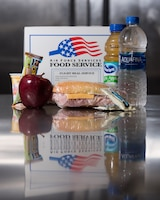 A photo of a possilbe boxed lunch which can be orderd through the virtual Meal Ordering system Sept. 21, 2018, at Offutt Air Force Base, Nebraska.The new online system allows for faster service and more accessible ordering. (U.S. Air Force photo by Senior Airman Jacob Skovo)