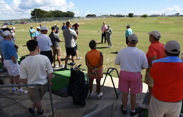 U.S. Air Force Maj. Amber Ortiz, 81st Force Support Squadron commander, welcomes participants during the Don Wylie Memorial Golf Tournament at the Bay Breeze Golf Course at Keesler Air Force Base, Mississippi, Sept. 21, 2018. The Biloxi Bay Chamber of Commerce won the annual tournament, which raised funds to help the Military & Veterans Affairs committee honor military members. (U.S. Air Force photo by Kemberly Groue)
