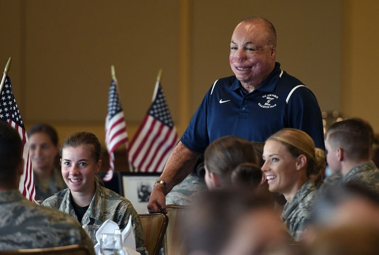 U.S. Air Force Senior Master Sgt. Israel Del Toro, 98th Flying Training Squadron accelerated freefall training program superintendent, U.S. Air Force Academy, Colorado, attends the POW/MIA Remembrance Luncheon at the Bay Breeze Event Center on Keesler Air Force Base, Mississippi, Sept. 21, 2018. The event, hosted by the Air Force Sergeants Association, was held to raise awareness and to pay tribute to all prisoners of war and those military members still missing in action. (U.S. Air Force photo by Kemberly Groue)