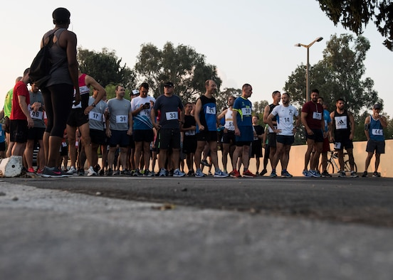 Runners line up before the start of the 39th Air Base Wing half marathon at Incirlik Air Base, Turkey, Sept. 22, 2018.