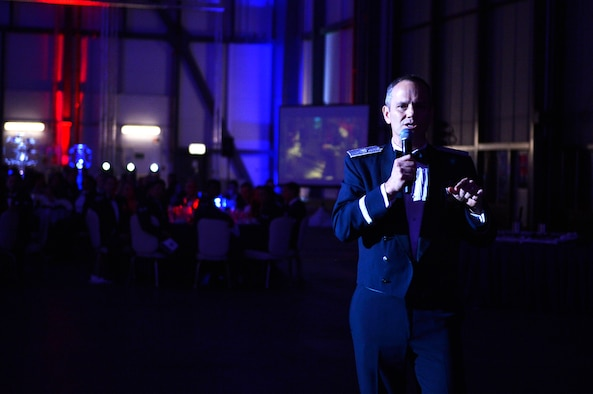 U.S. Air Force Brig. Gen. Charles S. Corcoran, U.S. Air Forces in Europe-Air Forces Africa Strategic Deterrence and Nuclear Integration director of operations, addresses attendees during an Air Force Ball celebration on Ramstein Air Base, Germany, Sept. 22, 2018. Corcoran spoke about the importance of all Airmen in mission accomplishment. (U.S. Air Force photo by Senior Airman Joshua Magbanua)