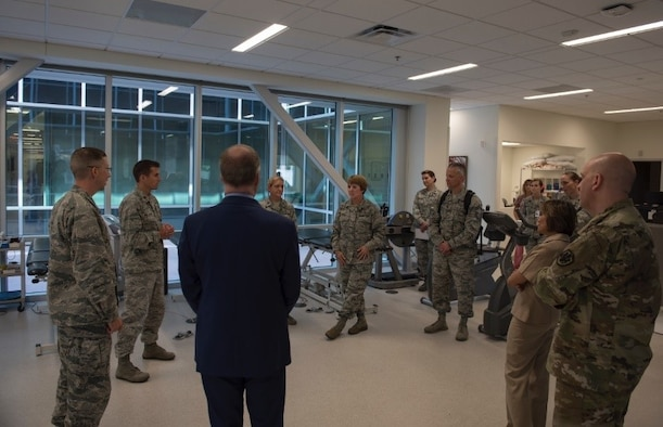 Leaders of the Defense Health Agency and the U.S. Air Force Surgeon General are given a tour of the 4th Medical Group's new facility, Sept. 6, 2018, at Seymour Johnson Air Force Base, North Carolina. The new medical facility was opened in June 2018 and provides services for family health, pediatrics, women's health, pharmacy, radiology, lab, flight medicine, bioenvironmental engineering, and TRICARE operations and patient administration. (U.S. Air Force photo by Airman 1st Class Jacob B. Derry)
