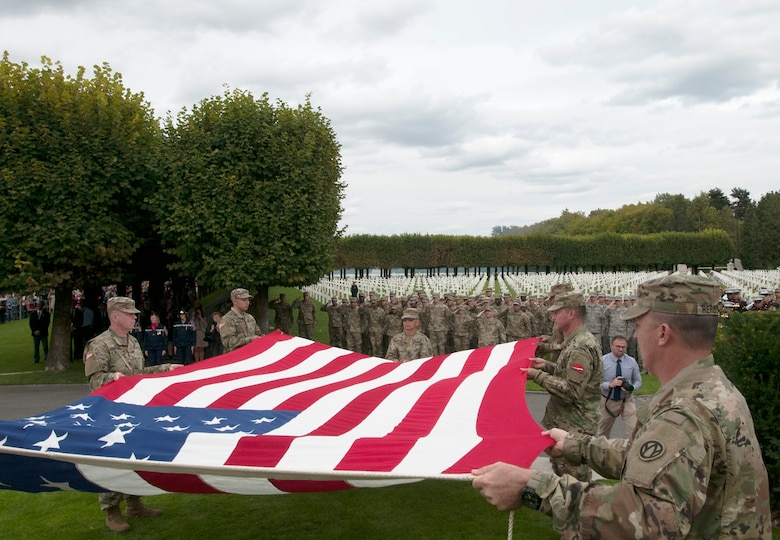 Flag retirement at St. Mihiel Cemetery