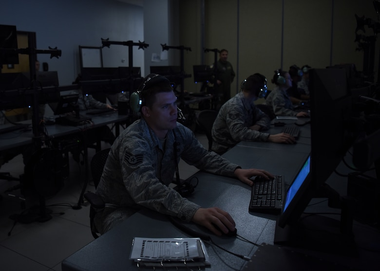 Staff Sgt. Shane Miltner, 607th Air Control Squadron weapons simulation technician, prepares the Battlespace Command and Control Center program, Sept. 21, 2018 at Luke Air Force Base, Ariz.