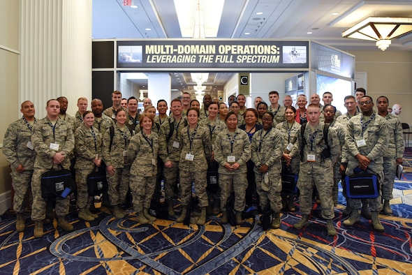 Airmen from Dover Air Force Base, Del., attend the Air Force Association's Air, Space and Cyber Conference Sept. 17, 2018, in National Harbor, Md. The base sponsored dozens of Airmen to attend the conference and provided transportation to and from the event. (U.S. Air Force photo by Airman 1st Class Zoe M. Wockenfuss)