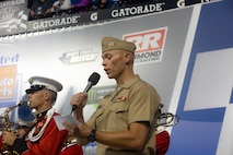 U.S Navy Lt. James P. Block gave the invocation for the Federated Auto Parts 400 at Richmond Raceway in Richmond, Virginia, September 22, 2018. Block provided the invocation as part of a community outreach program at the race. His primary duties incude providing religious and physiological help to military members of all beliefs. Block, from Norwalk, California is the chaplain for 4th Marine Corps District.