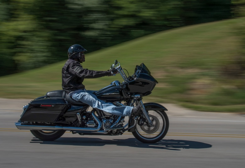 A participant in the motorcycle mentorship drives back to Scott Air Force Base as part of the last leg of the event Sept. 14, 2018 at Chester, Ill. The ride consisted of a five-hour road trip with stops in Milstadt, Prairie Du Rocher, Chester, Ill. and Missouri.