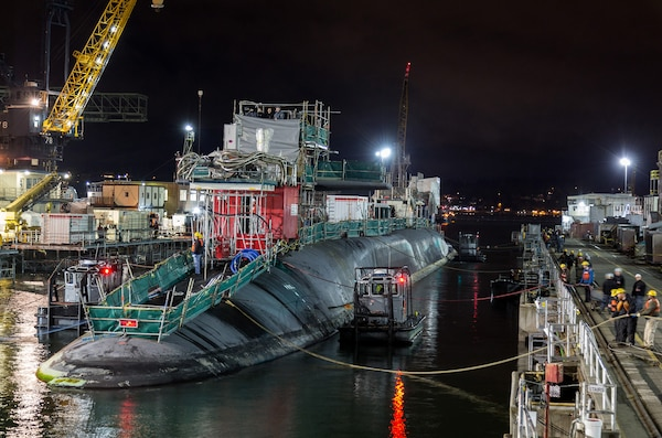 USS Ohio (SSGN 726) entered drydock April 25, 2017, at Puget Sound Naval Shipyard & Intermediate Maintenance Facility, in Bremerton, Washington, and began her Major Maintenance Period. Ohio had recently returned from a 20-month deployment that included exercises involving special operations forces; port visits in Malaysia, South Korea, and Japan; and coordination of the largest Tomahawk missile onload in program history.
