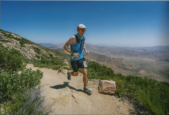 1st Lt. Krosby Keller, 225th Air Defense Squadron air battle manager, runs the San Diego 100 ultra marathon June 8, 2018.  The San Diego 100 is a mountain race that takes place east of San Diego in June every year that runs through the Pacific Coast Trail and Cuyamaca State Park.