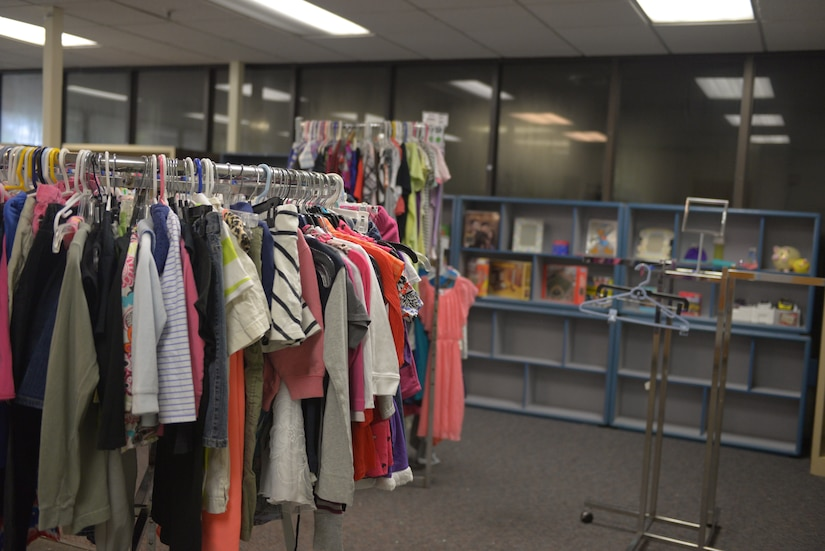 Clothes, toys and books fill up the children's section of the base resale shop at Joint Base Charleston, S.C. Sept. 4, 2018. The base recently converted the old consignment shop into a resale shop for the community to buy and donate quality used clothing and supplies.