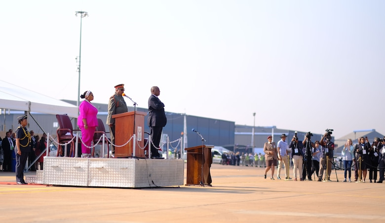 The President of the Republic of South Africa, Cyril Ramaphosa, addresses the crowd of attendees during the African Aerospace and Defense Exhibition 18 opening ceremony, September 19, 2018, Waterkloof Air Force Base, South Africa. This tradeshow will increase our understanding of each other's capabilities and proficiencies, enhancing our ability to operate together. (US Army PhotoStaff Sgt. Jeffery Sandstrum)