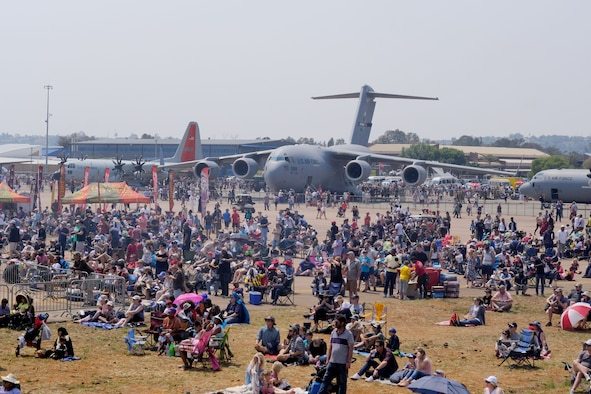 South African local nationals visit the inside of a United States Air Force aircraft during the African Aerospace and Defense Exhibition 18, September 23, 2018, Waterkloof Air Force Base, South Africa. The exhibition provides a unique opportunity for the U.S. to showcase military personnel and equipment while promoting strong ties with its African partners. (US Army photo by Staff Sgt. Jeffery Sandstrum)