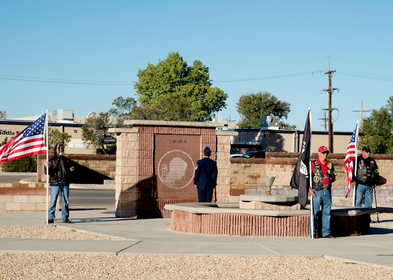 Local Alamogordo veterans post the colors in front of the POW/MIA memorial at Heritage Park on Holloman Air Force Base, N.M., Sept. 21. The ceremony, in rememberance of prisoners-of-war and those still missing-in-action, was part of Holloman's POW/MIA commemoration. (U.S. Air Force photo by Airman 1st Class Kindra Stewart)