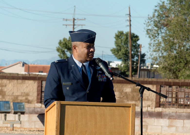 Col. Brian Patterson, 49th Wing vice commander, speaks at the POW/MIA ceremony at Heritage Park on Holloman Air Force Base, N.M., Sept. 21. The ceremony, in rememberance of prisoners-of-war and those still missing-in-action, was part of Holloman's POW/MIA commemoration. (U.S. Air Force photo by Airman 1st Class Kindra Stewart)