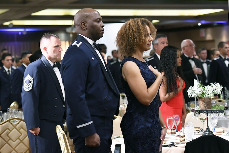 U.S. Air Force Col. Leo Lawson, Jr., 81st Training Group commander, and his wife, Denise, attend the U.S Air Force 71st Birthday Ball at the Imperial Palace Casino, Biloxi, Mississippi, Sept. 22, 2018. The event, hosted by the 81st Training Wing and the John C. Stennis Chapter Air Force Association, also included a cake cutting ceremony. (U.S. Air Force photo by Kemberly Groue)