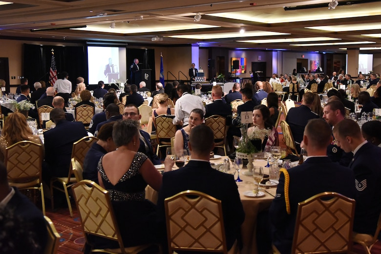 U.S. Air Force Senior Master Sgt. Israel Del Toro, 98th Flying Training Squadron accelerated freefall training program superintendent, U.S. Air Force Academy, Colorado, delivers remarks during the U.S Air Force 71st Birthday Ball at the Imperial Palace Casino, Biloxi, Mississippi, Sept. 22, 2018. The event, hosted by the 81st Training Wing and the John C. Stennis Chapter Air Force Association, also included a cake cutting ceremony. (U.S. Air Force photo by Kemberly Groue)