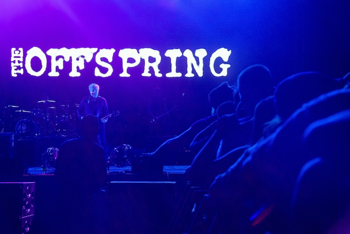 The Offspring, a popular rock band from Southern California, perform during the BaseFest music festival, held at Lance Cpl. Torrey L. Gray Field, aboard the Marine Corps Air Ground Combat Center, Twentynine Palms, Calif., Sept. 22, 2018. Hosted by USAA, with the help of Marine Corps Community Services, BaseFest gave Marines, their families and the local community the opportunity to unwind and listen to live music, while building bonds between the installation and the community. (U.S. Marine Corps photo by Lance Cpl. Dave Flores)