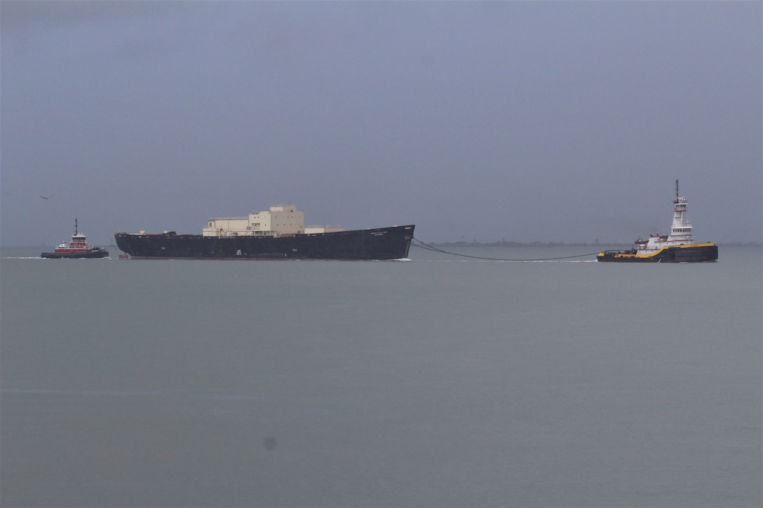 The STURGIS is towed from the Galveston shipping channel into open water Tuesday morning September 25, 2018 as it heads toward Brownsville, Texas for final shipbreaking and recycling. Over the past three years in Galveston, Texas, the U.S. Army Corps of Engineers has been implementing the challenging and complex efforts to decommission the MH-1A — the deactivated nuclear reactor that was onboard the STURGIS vessel. (U.S. Army photo by Becca Nappi)