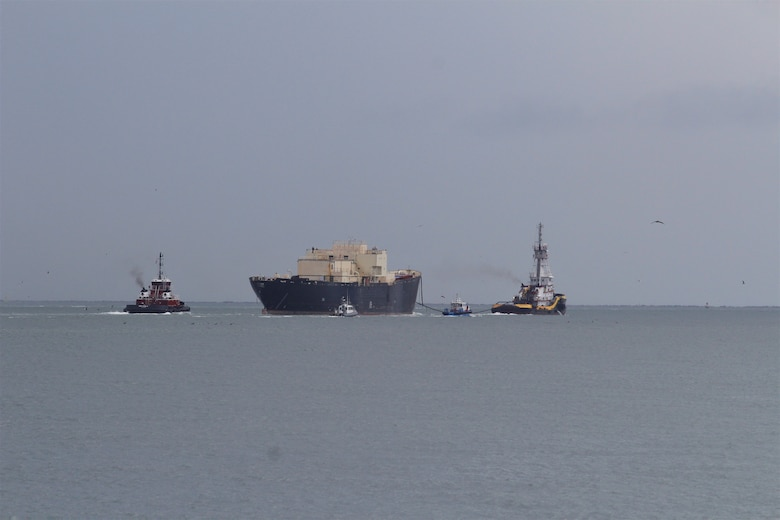 The STURGIS, which was the world's first floating nuclear power plant, is towed from the Galveston shipping channel into open water Tuesday morning September 25, 2018 as it heads toward Brownsville, Texas for final shipbreaking and recycling. The vessel is being towed from Galveston where it has undergone radiological decommissioning that included the safe removal of all components of its deactivated nuclear reactor and all associated radioactive waste that was formerly onboard. (U.S. Army photo by Becca Nappi)