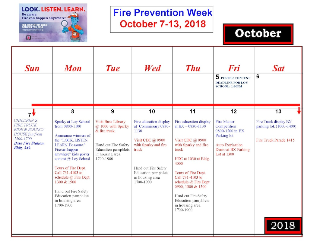 The 2018 calendar for Malmstrom Air Force Base's Fire Prevention Week. (Courtesy graphic)