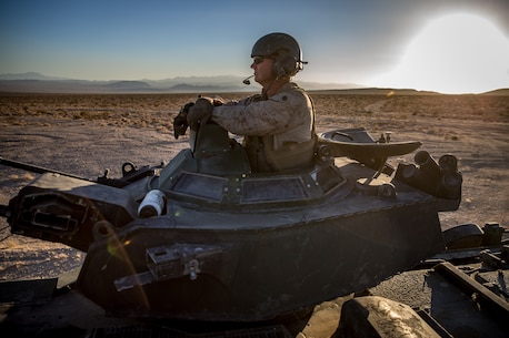 U.S. Marine Corps SSgt. Derek Andreas, an assault amphibious vehicle crewmember with 3D Assault Amphibian Battalion, participates in the final event of exercise Valiant Mark at Marine Corps Air-Ground Combat Center Twentynine Palms, Calif. Sept. 09, 2018.