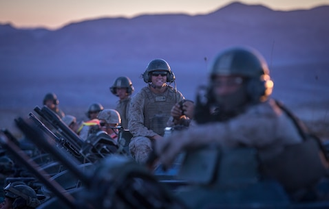 U.S. Marines with 3rd Assault Amphibian Battalion, 1st Marine Division, participate in the final event of exercise Valiant Mark at Marine Corps Air-Ground Combat Center Twentynine Palms, Calif. Sept. 09, 2018.
