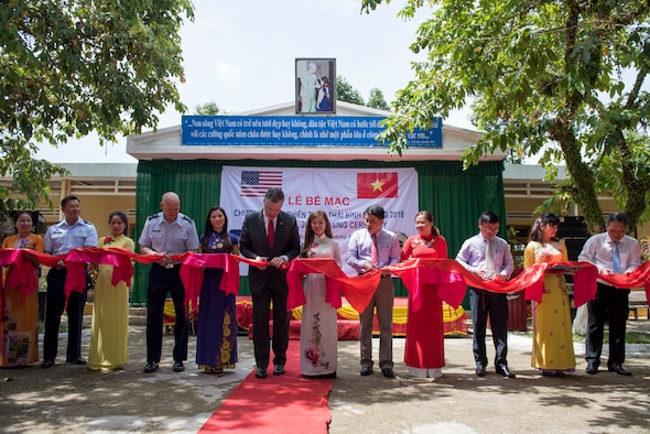 Pacific Angel (PAC ANGEL) 18-2 senior leaders and Vietnam officials participate in a ribbon cutting ceremony at Tien Tho Primary School, in Tien Tho commune, Tien Phuoc district, Vietnam, Sept. 17, 2018.