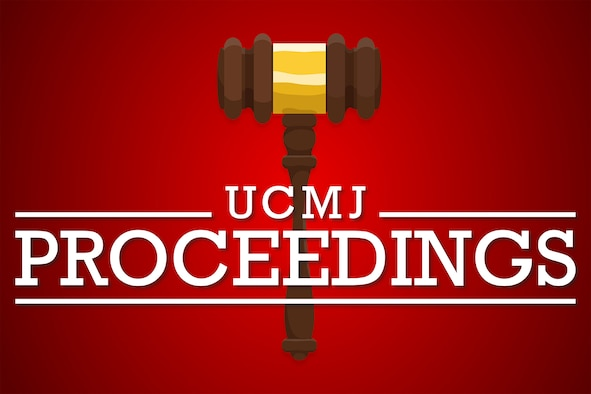 A gavel on a red background to represent UCMJ proceedings.