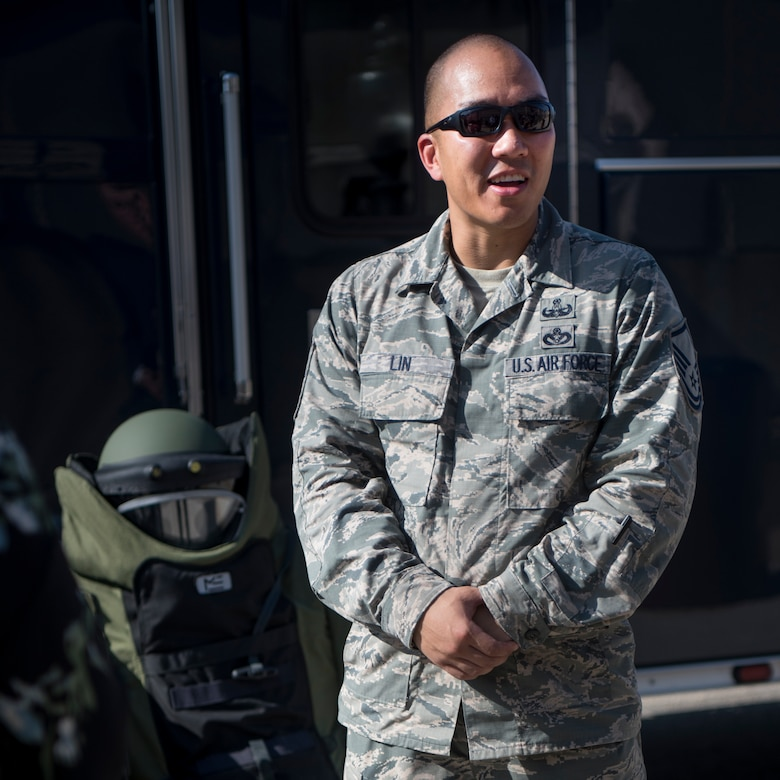 """Air Force Master Sgt. Aaron Lin, an explosive ordnance disposal technician with the 11th Wing at Joint Base Andrews, Md., briefs reporters at the Pentagon on what EOD personnel at his unit do in the national capital region as a part of the Defense Department's """"Showcasing Lethality"""" series."""