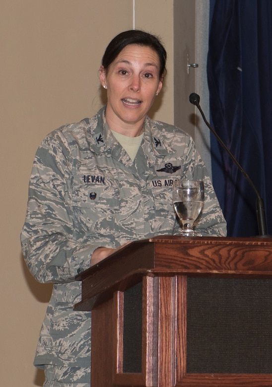 U.S. Air Force Lt. Col. Sherri LeVan, 55th Wing vice commander, says closing remarks during the POW/MIA Remembrance Luncheon Sept. 19, 2018, at Offutt Air Force Base, Nebraska. The third Friday of September is dedicated as POW/MIA Day. (U.S. Air Force photo by L. Cunningham)
