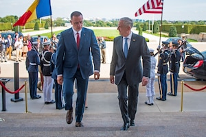 Defense Secretary James N. Mattis hosts a meeting with Romanian Defense Minister Mihai Fifor at the Pentagon.