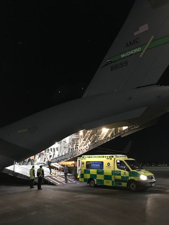 A Christchurch New Zealand Life Fleet medical team loads response equipment onto the C-17 Globemaster III for an emergency MEDEVAC from the National Science Foundation's McMurdo Station in the Antarctic Aug. 25. (Courtesy photo)