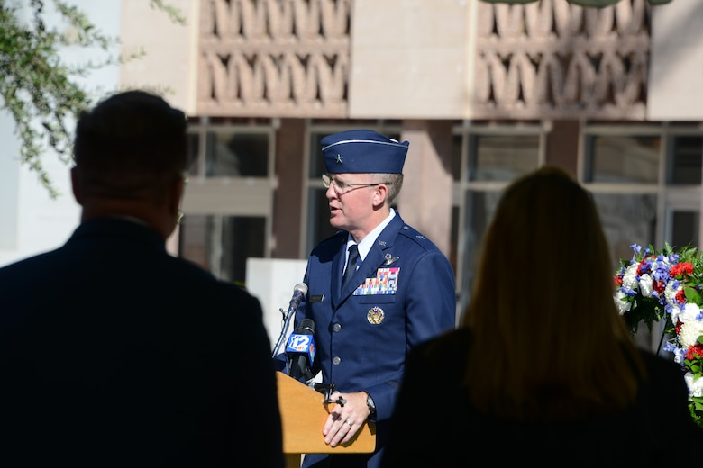 Brig. Gen. Todd Canterbury, 56th Fighter Wing commander, gives his remarks at the 100th Anniversary of the death of Lt. Frank Luke Jr. ceremony, Sept. 26, 2018 in Phoenix.