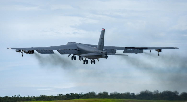 A U.S. Air Force B-52H Stratofortress bomber takes off from Andersen Air Force Base, Guam, for a routine training mission in the vicinity of the South China Sea and Indian Ocean, Sept 23, 2018 (HST).