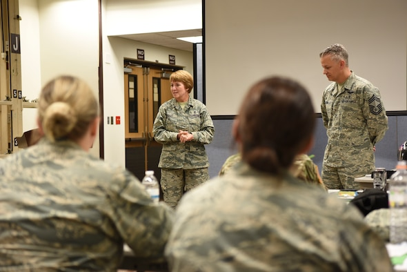 U.S. Air Force Lt. Gen. Dorothy Hogg, center, Air Force Surgeon General, and U.S. Air Force Chief Master Sgt. Steven Cum, Medical Enlisted Force and Enlisted Corps chief, answer questions about medical readiness at Osan Air Base, Republic of Korea, Sept. 24, 2018.