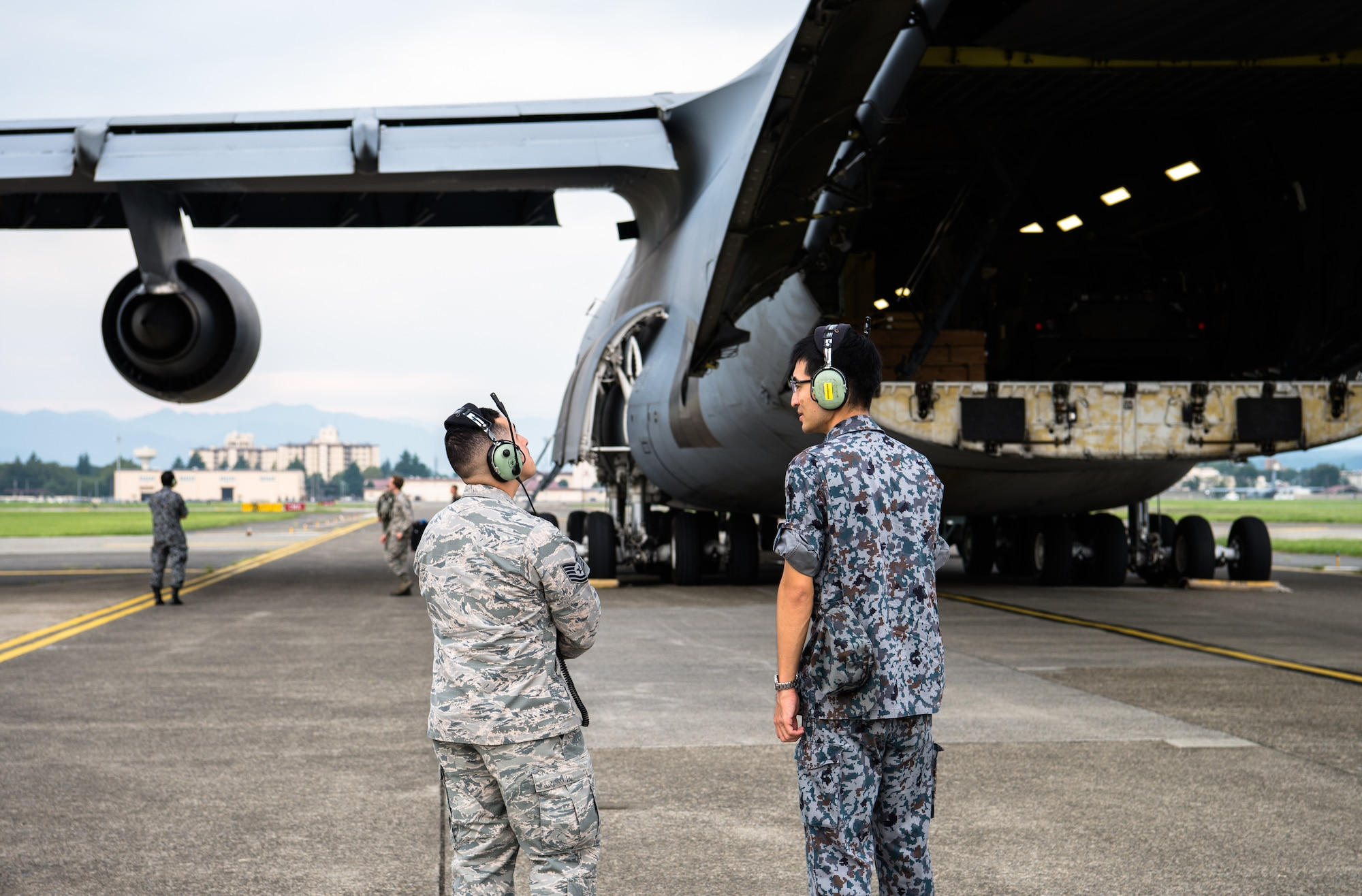 U.S. Air Force and Japan Air Self Defense Force Airmen talk about the C-5 Super Galaxy