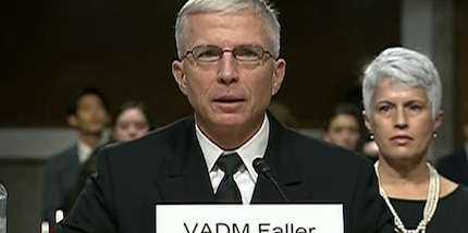 Navy Vice Adm. Craig S. Faller testifies at his nomination hearing.