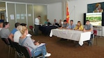 Macedonia officials conduct a mock press conference Sept. 20, 2018, during a flood response tabletop exercise in Skopje, Macedonia. The exercise was sponsored by the Civil-Military Emergency Preparedness Program and included the participation of first responders from the Republic of Macedonia and the United States.