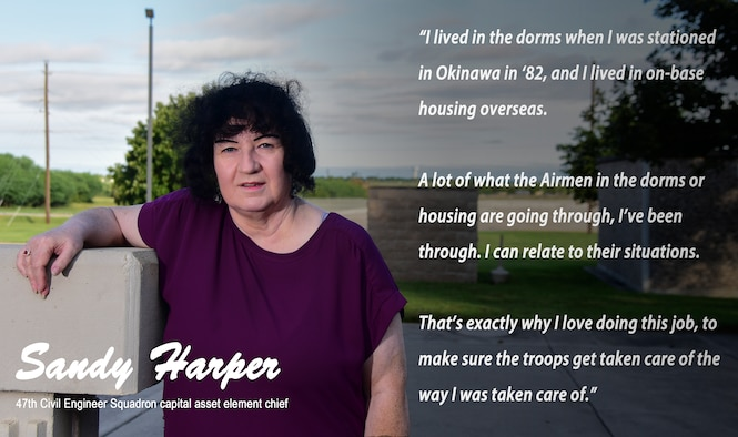 Sandy Harper, 47th Civil Engineer Squadron capital asset element chief, reflects on her prior military experiences in on-base housing, where she underwent many challenges Airmen face today. Harper's experience as a first sergeant gave her insight into her Airmen's day-to-day lives, which she now uses to relate to Laughlin Airmen. (U.S. Graphic by Airman 1st Class Marco A. Gomez)