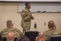 Maj. Gen. Donna Martin, Maneuver Support Center of Excellence and Fort Leonard Wood commanding general, discusses her core beliefs, initial priorities, philosophy and expectations with senior leaders from the U.S. Army Engineer School Sept. 6 in the Digital Training Facility. (Photo Credit: Ms. Dawn M Arden (Leonard Wood))