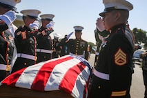 U.S. Marines with the Company F, 2nd Battalion, 7th Marine Regimant, 1st Marine Division, Color Guard, render a salute to Pfc. Roger Gonzales during his funeral service at the Green Hill Mortuary and Memorial Chaple, Rancho Palos Verdes, California, Sept. 21, 2018.