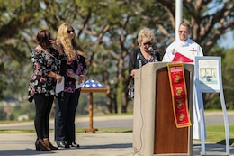 The family of U.S. Marine Corps Pfc. Roger Gonzales, with Company F, 2nd Battalion, 7th Marine Regimant, 1st Marine Division, speak during his funeral service at the Green Hill Mortuary and Memorial Chaple, Rancho Palos Verdes, California, Sept. 21, 2018.