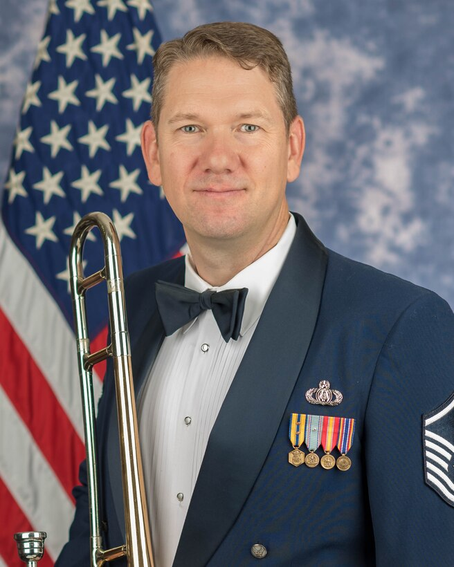 Official photo for trombonist, Master Sgt. Benjamin Patterson
