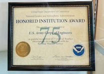 "The Walla Walla District's Mill Creek Dam and Bennington Lake project was recognized with an ""Honored Institution Award"" on Wednesday, Sept. 26, for 75 years of service in the National Weather Service's Cooperative Observer program. U.S. Army Corps of Engineers photo."