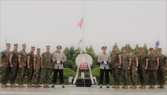 U.S. Marine Corps Forces Korea staff laid a wreath at the United Nations Memorial Cemetery in Korea located in Busan, Sept. 19.  The U.N. cemetery hosts graves from eleven countries who fought for U.N. forces during the Korean War of 1950-1953. (U.S. Marine Corps photo by Capt. John Parry/ Released)
