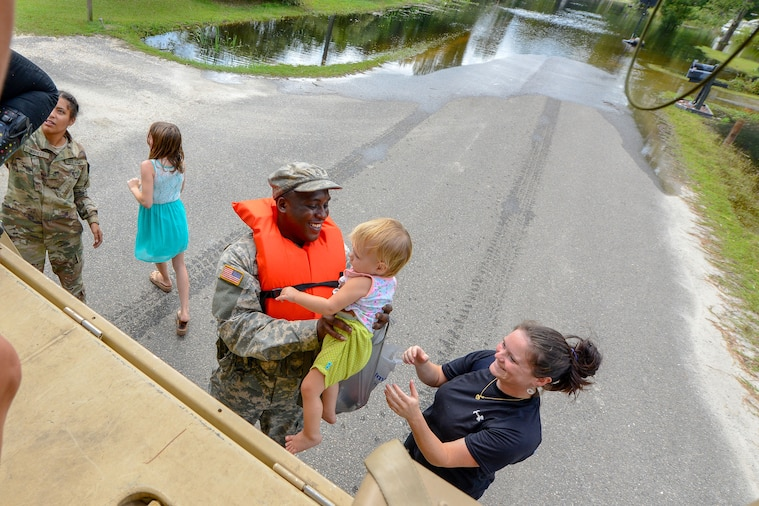 Army National Guardsmen assist flood relief efforts throughout South Carolina, Sept. 24, 2018, after heavy rains from Tropical Storm Florence impacted many counties.