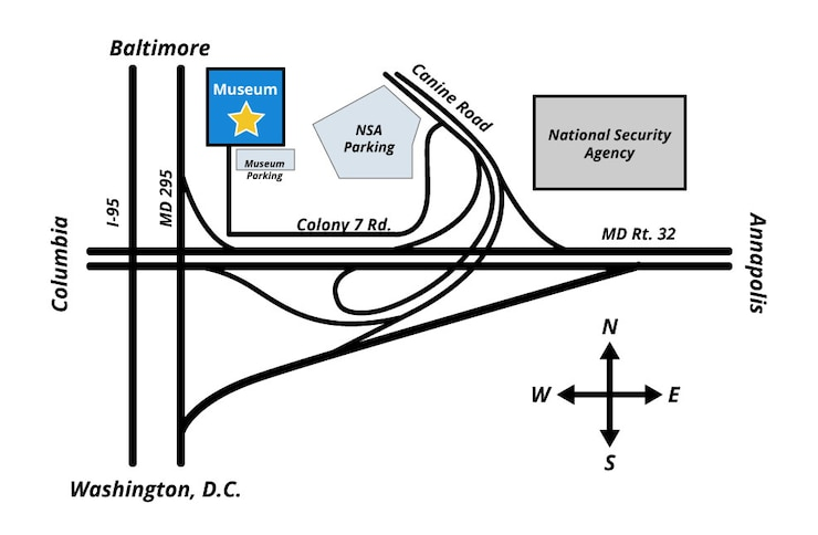 A simple map of the location of the National Cryptologic Museum. The museum is located on Colony 7 Rd and can be accessed by taking the Canine Road exit from MD Rt. 32.